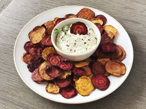 Beet Chips with Spicy Goat Cheese