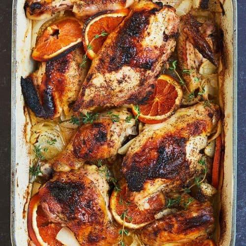 Clementine Chicken in a baking dish