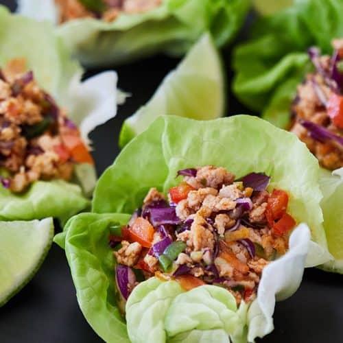 Thai Lettuce Chicken Cups on black plate