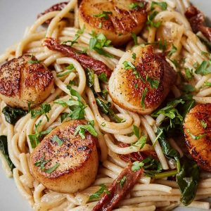 Tuscan Spaghetti with Scallops