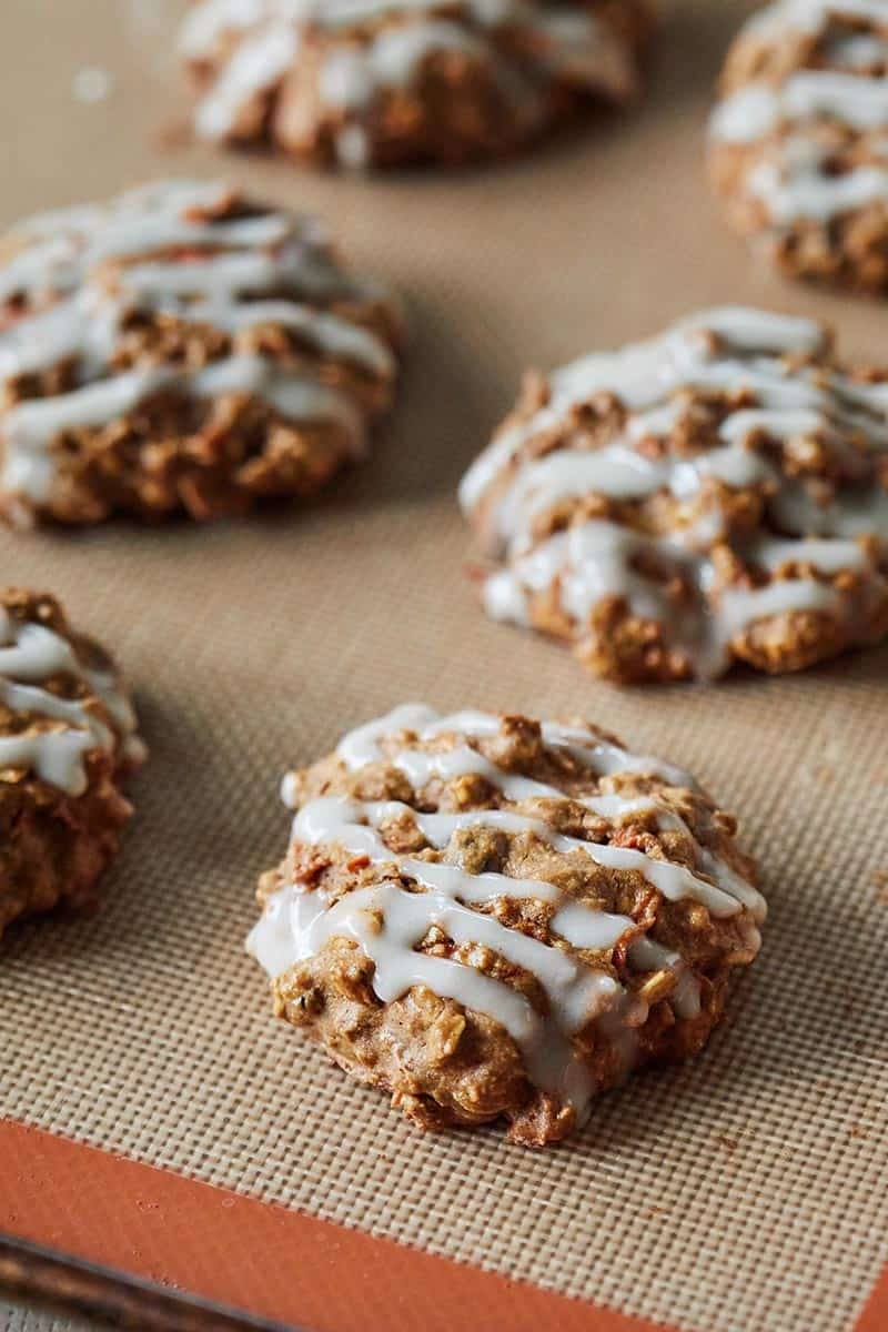 Carrot Cake Oatmeal Cookies on a Silpat