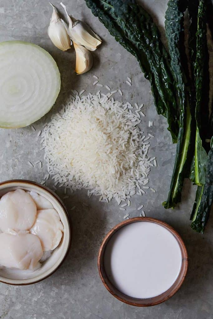 Scallops with Coconut Rice and Kale Ingredients