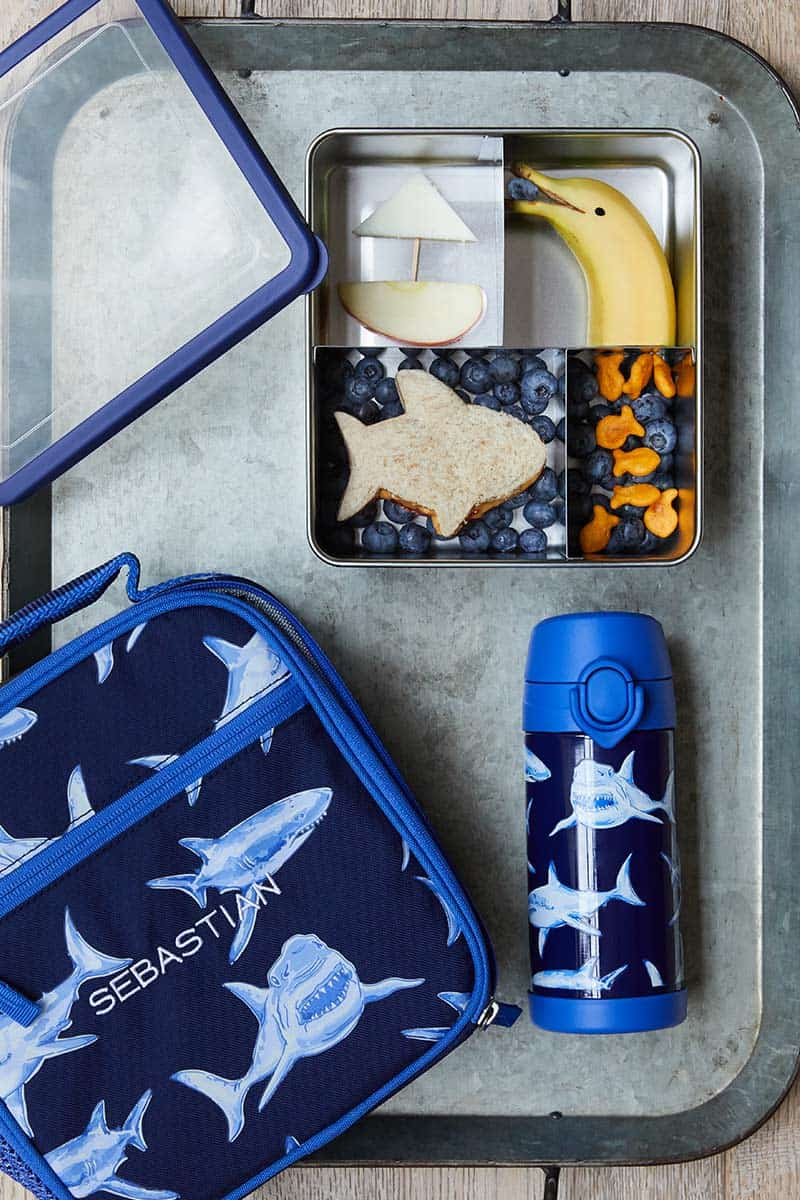 Potter Barn Beach Themed Lunch box and accessories on a metal tray