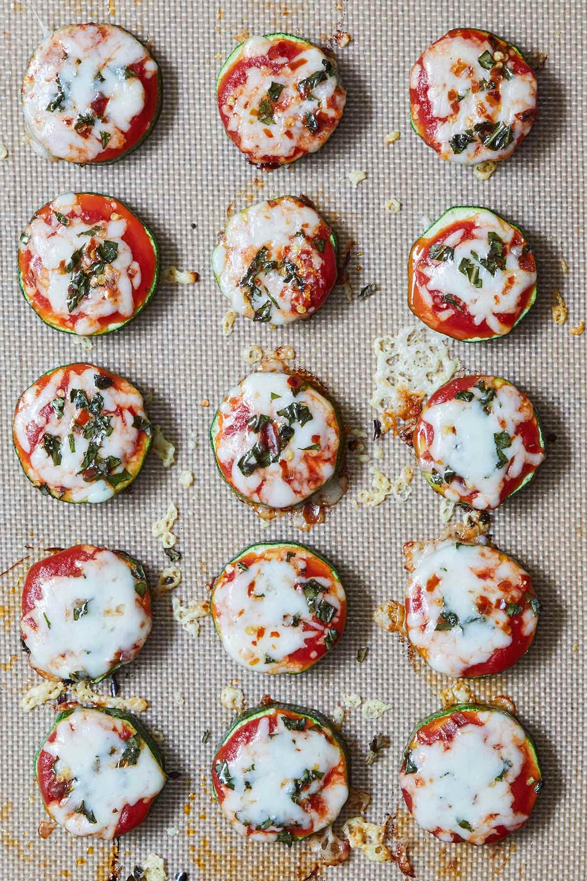 Zucchini Pizza Bites on a baking sheet