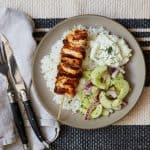 Chicken Skewers with Cucumber Salad and Tzatziki
