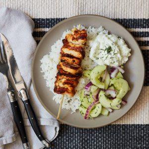 Chicken Skewers with Cucumber Salad and Tzatziki