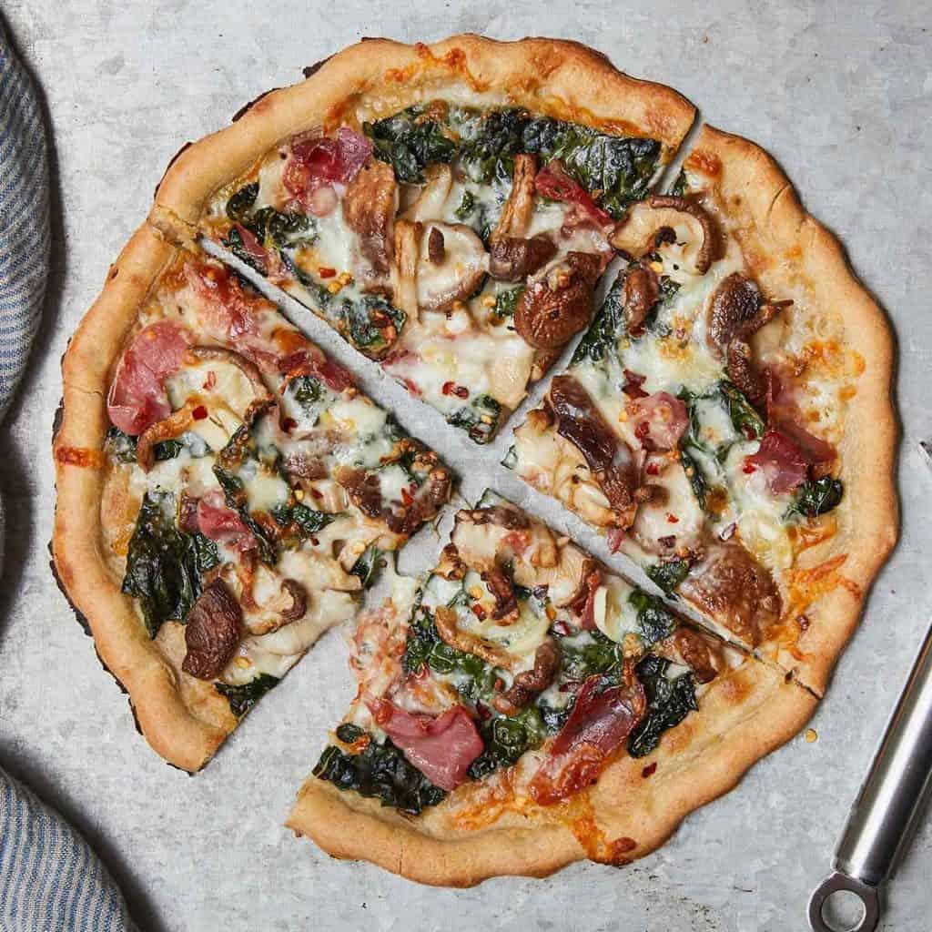 Kale Mushroom Pizza