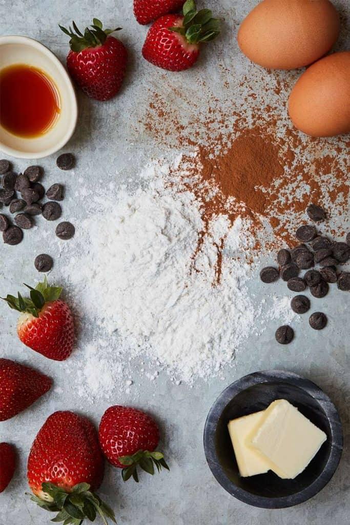 Strawberry and Chocolate Sheet Pan Pancakes Ingredients