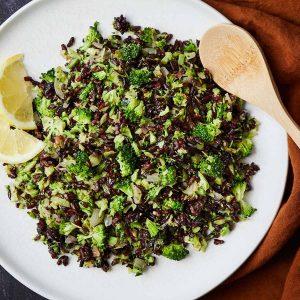 Skillet Broccoli Black Rice