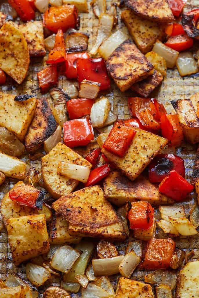Roasted Sweet Potato and Bell Peppers