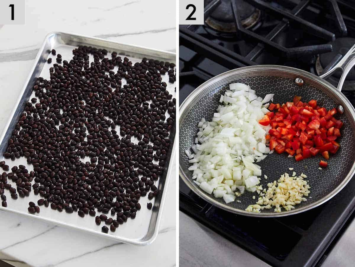 Set of two photos showing black beans in a sheet pan and onions, red peppers, and garlic in a pan.
