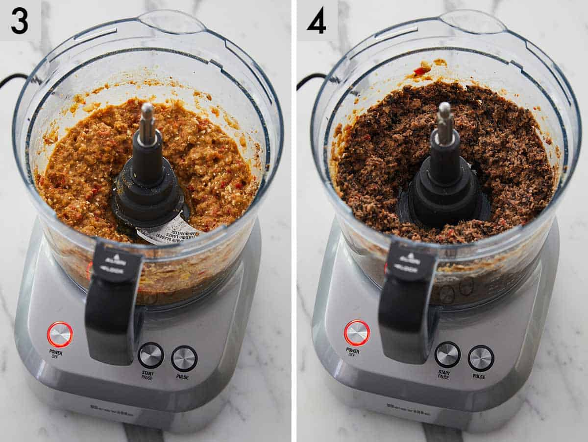 Set of two photos showing the before and after of the mixture in a food processor.