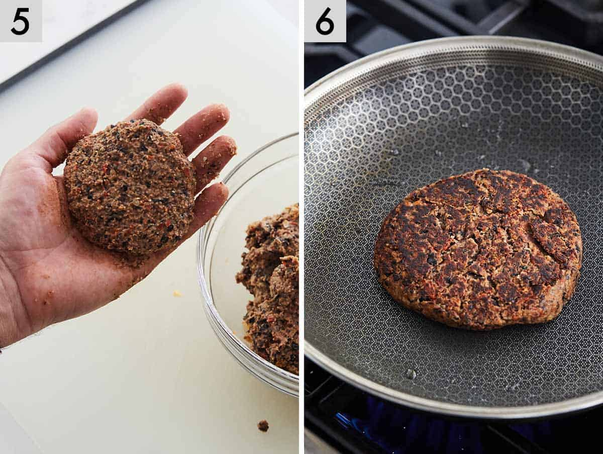 Set of two photos showing how to shape black bean burgers and it in a pan, grilling.