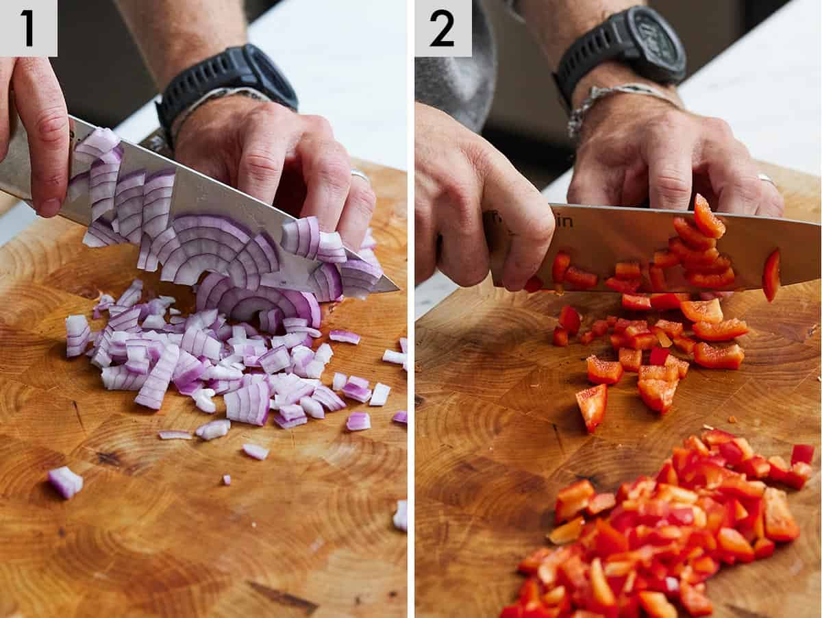 Set of two photos of onions being diced and red pepper being diced.