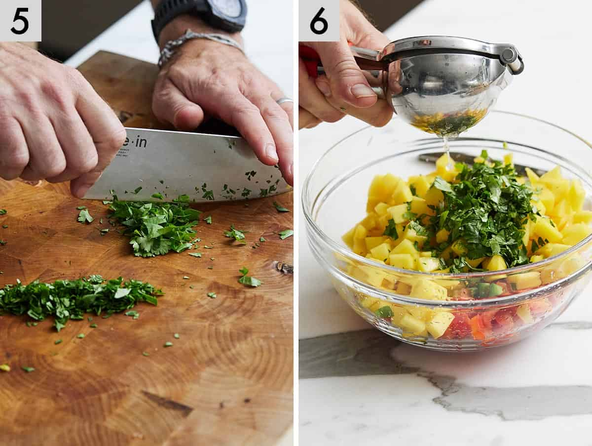 Set of two photos showing cilantro being cut and then limes being squeezed.