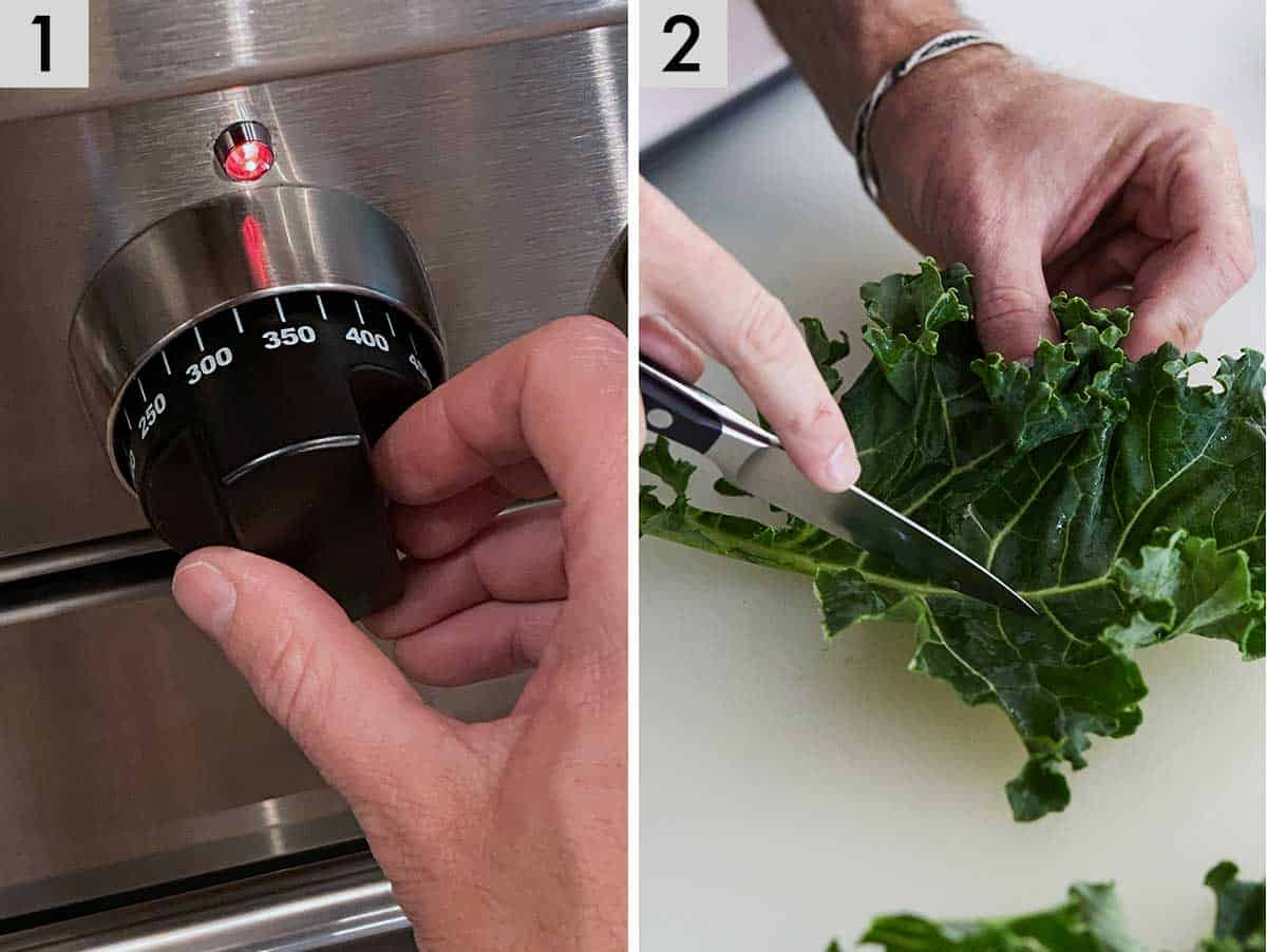 Set of two photos showing preheating the oven and removing the stem of kale leaves.