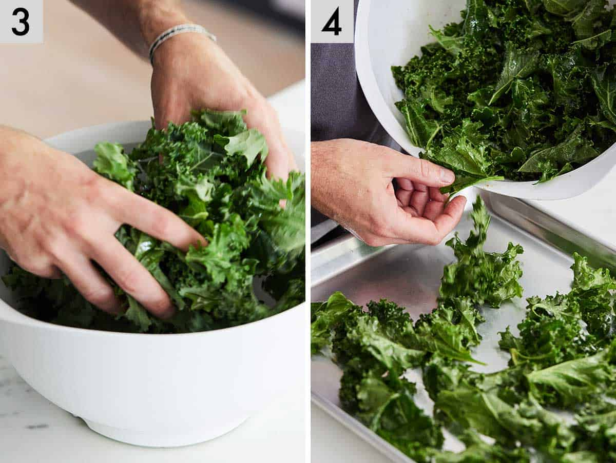 Set of two photos showing kale being tossed with oil and then spread onto a sheet pan.