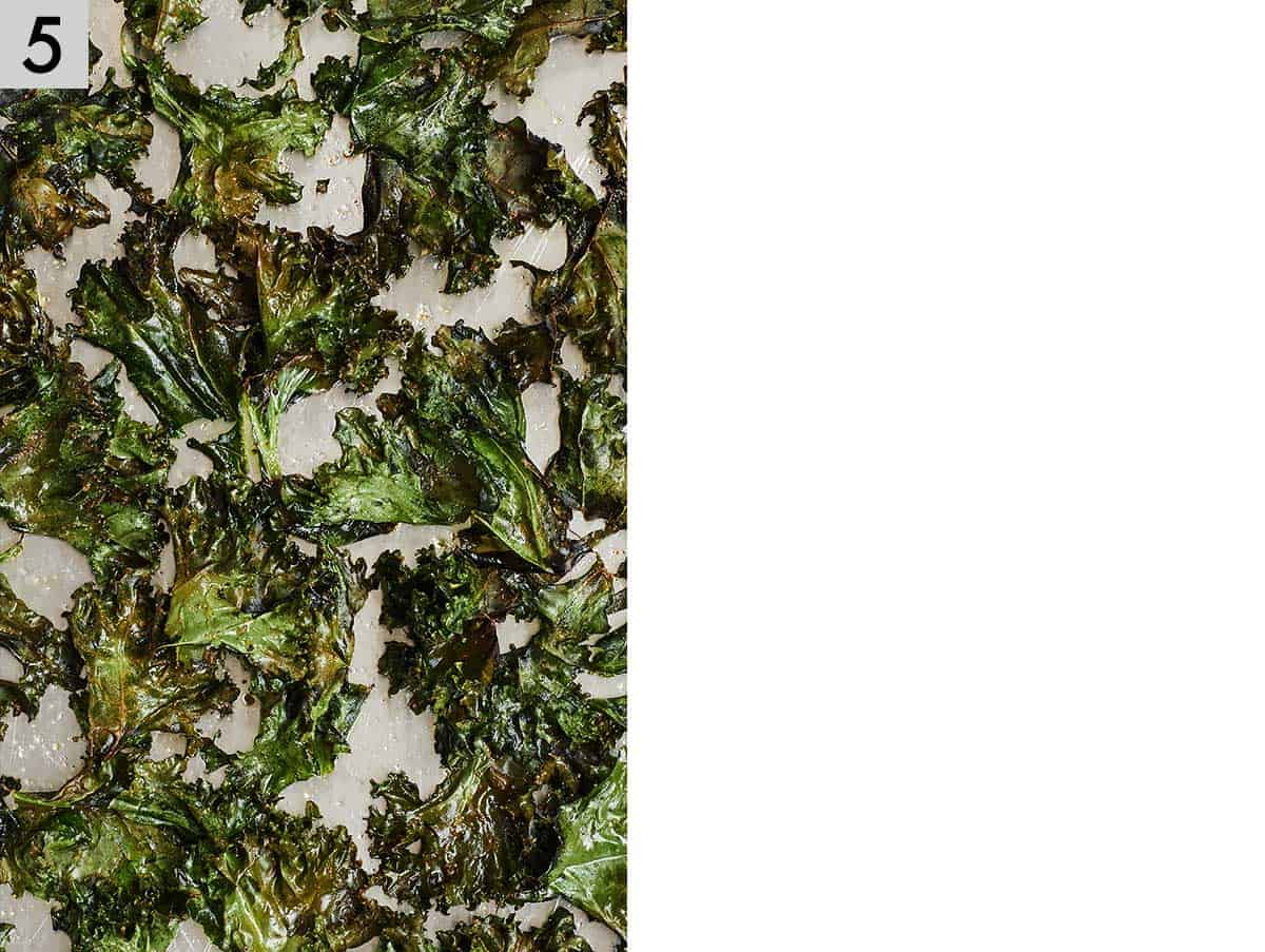 Photo showing baked kale chips.