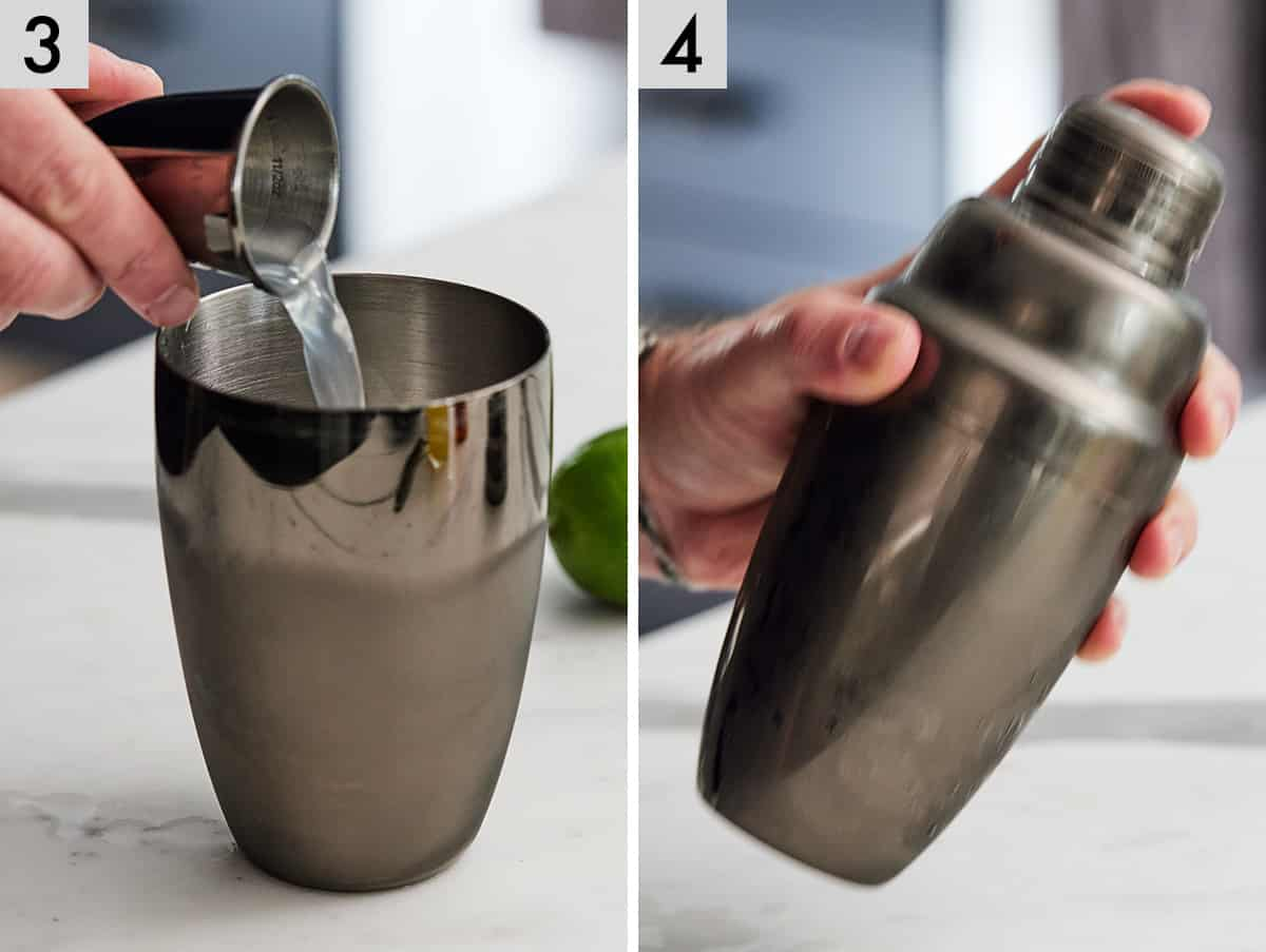 Set of two photos showing ingredients being added to a cocktail shaker and then shaken.
