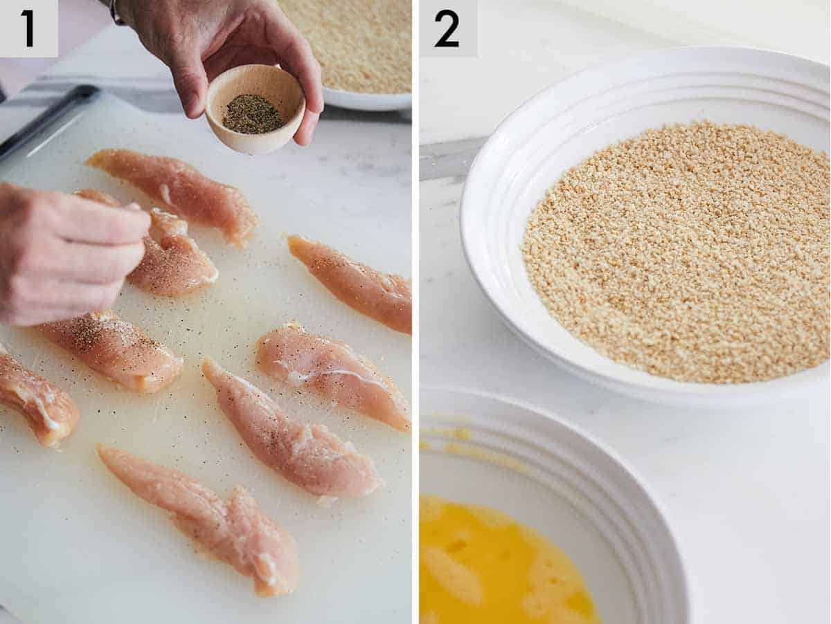 Set of two showing chicken tenders being seasoned and prepare the egg wash and breadcrumbs.