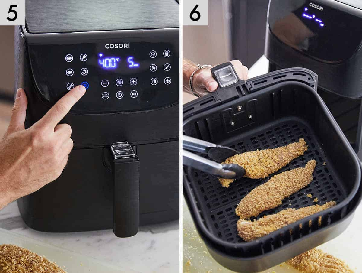 Set of two photos showing setting the timer for a cosori air fryer and then removing the air fryer chicken tenders after it's been cooked.