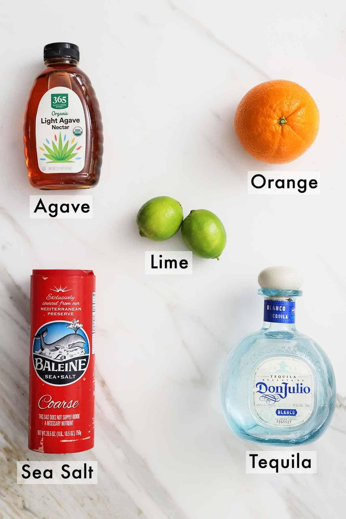 Ingredients needed to make skinny margarita.