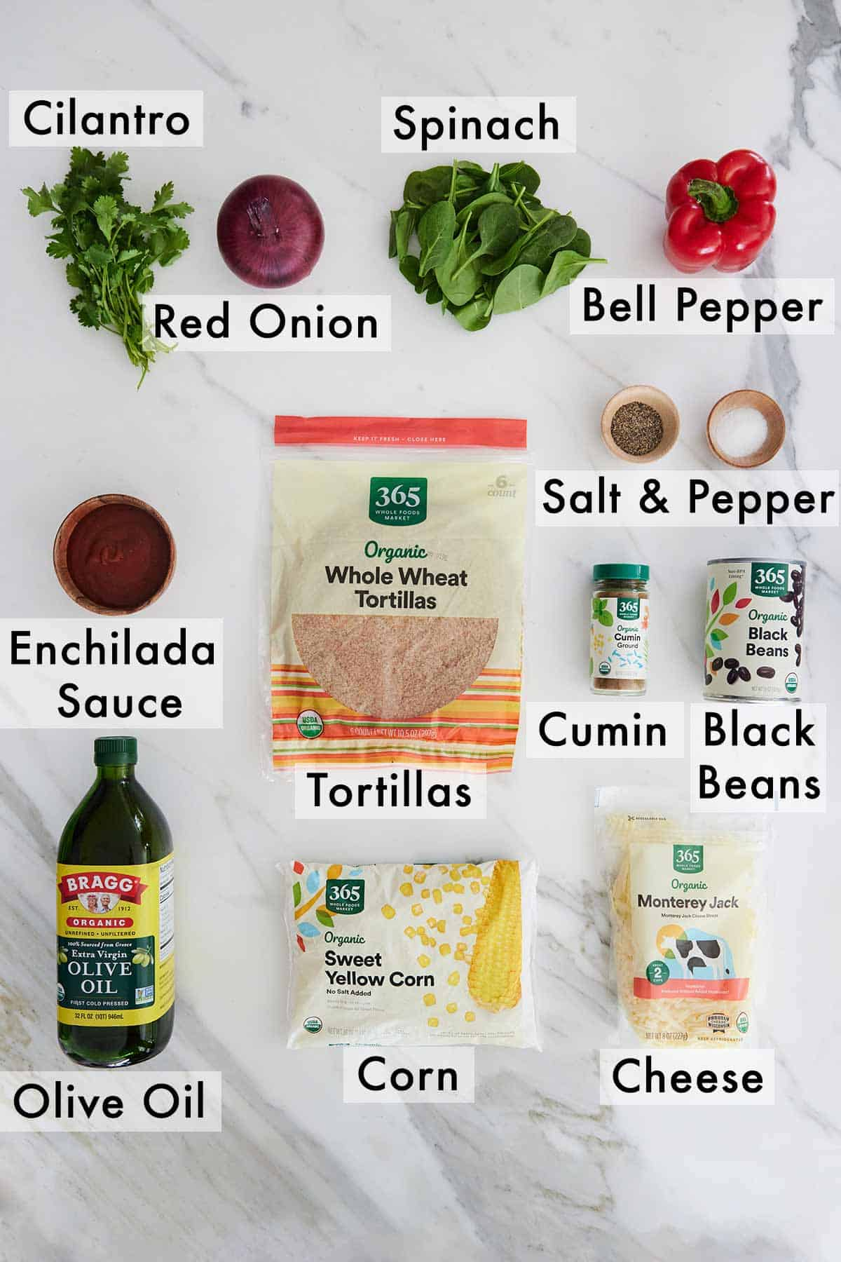 Ingredients needed to make vegetarian enchiladas.