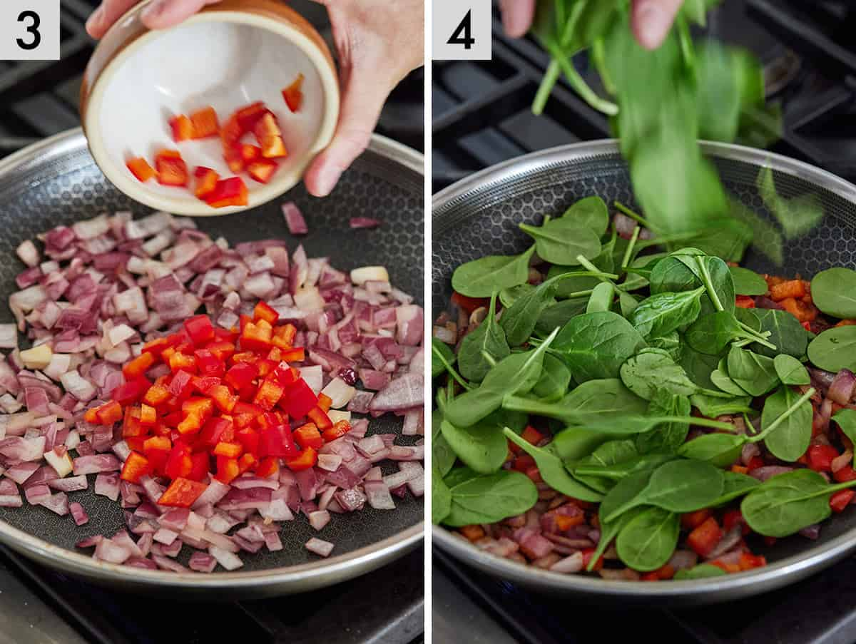 Set of two photos showing bell peppers and spinach added to the pan.