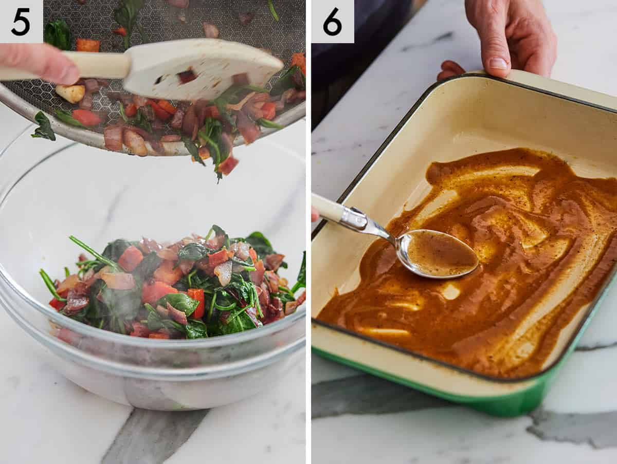 Set of two photos showing the cooked filling being transferred to a bowl and sauce being spread onto a casserole dish.