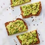 Pinterest graphic of two slices of avocado toast cut in half with red peppers sprinkled over top.