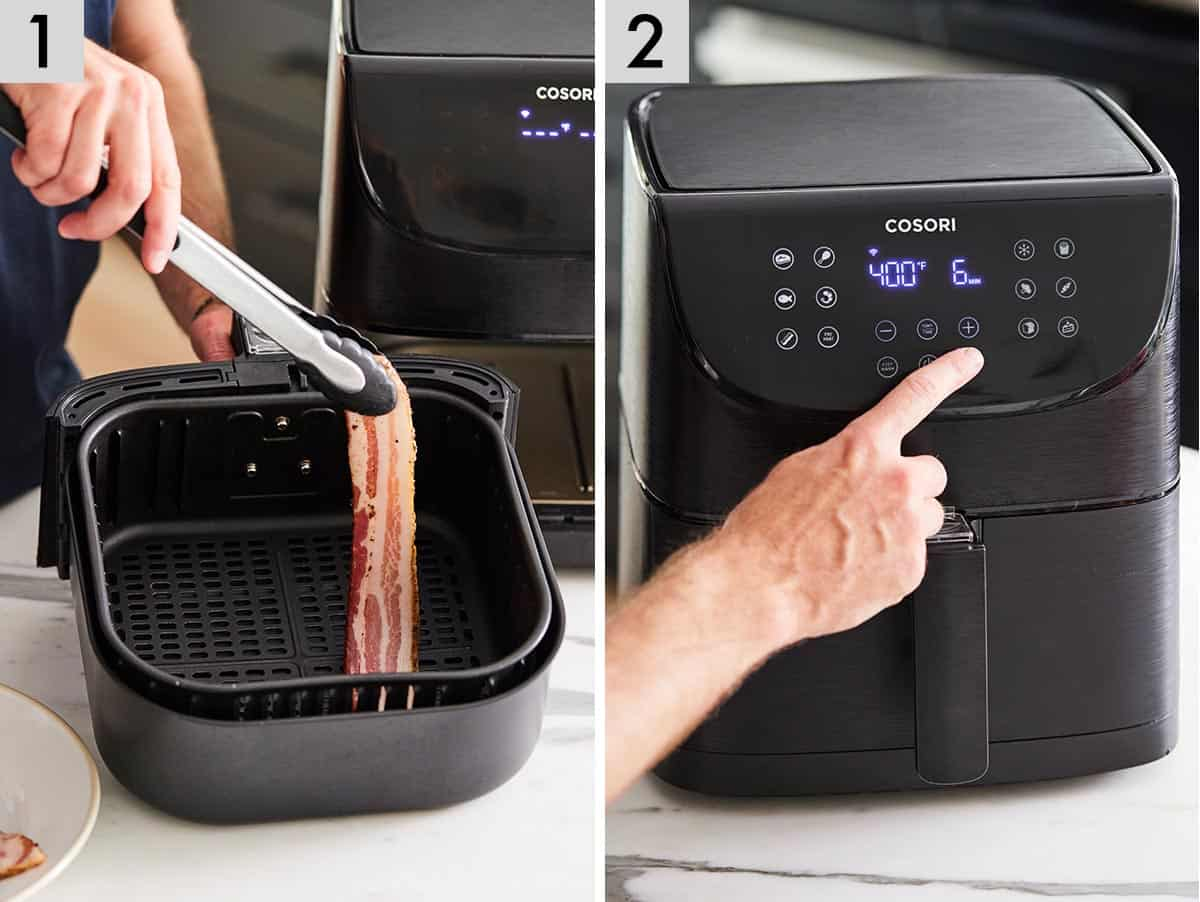 Set of two photos showing bacon going into the air fryer and then frying for 6 minutes.