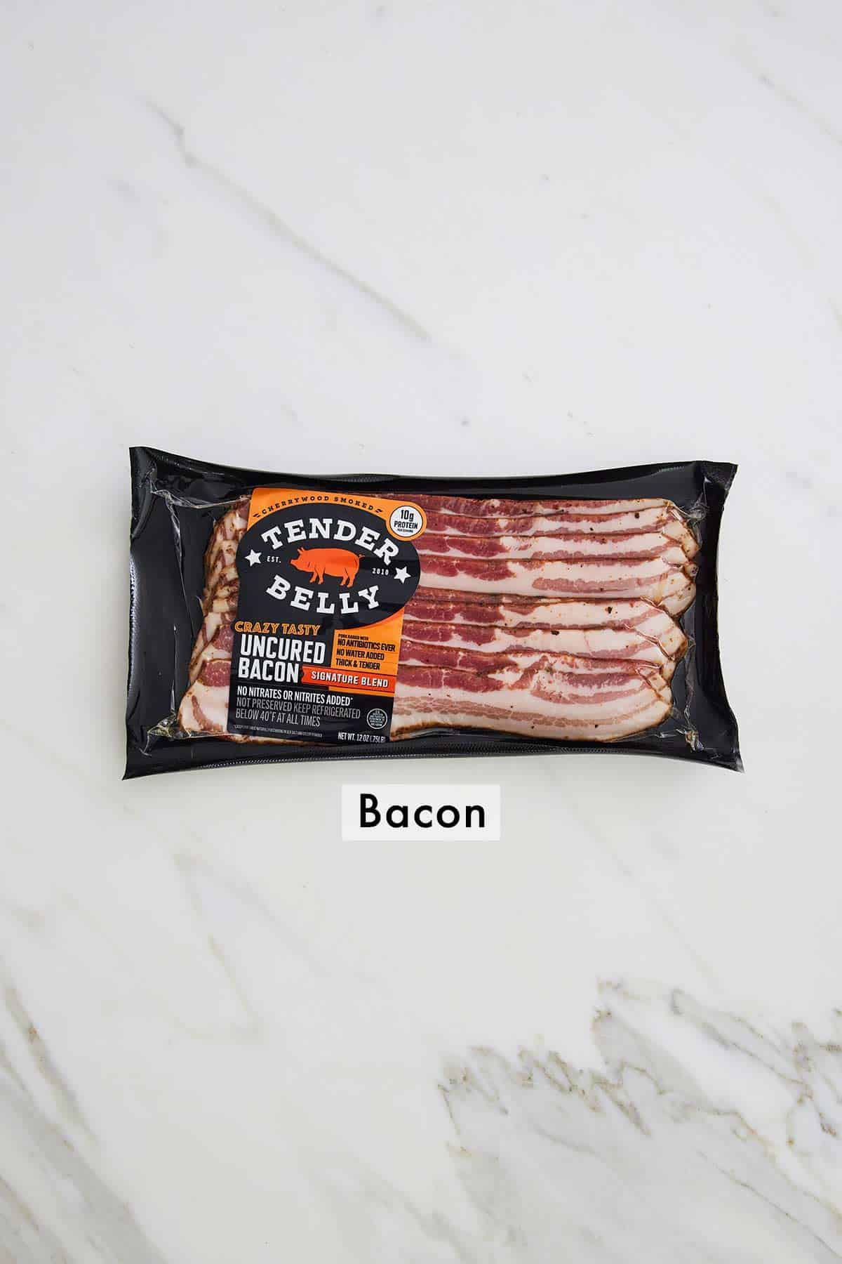A package of thick cut bacon.