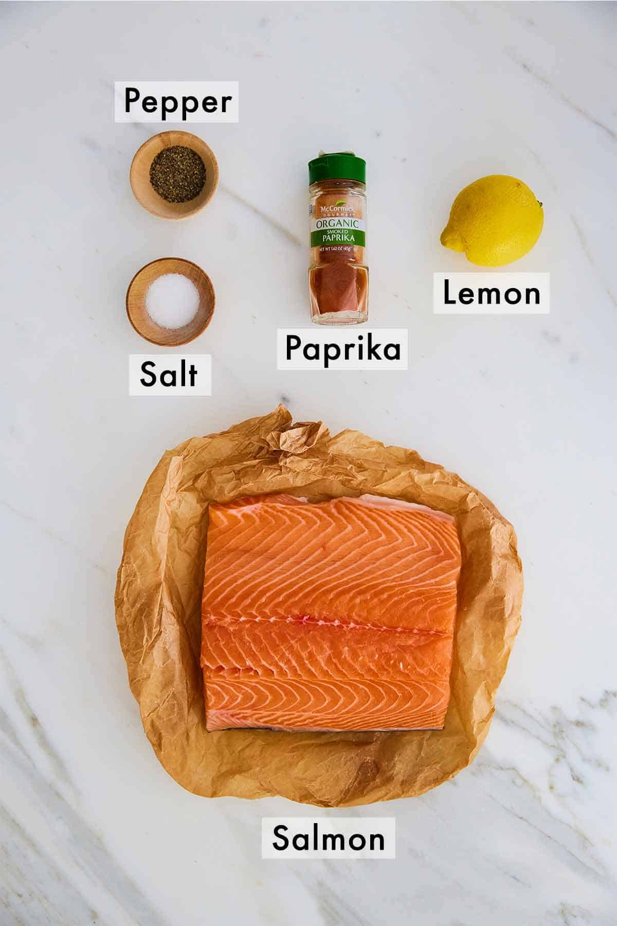 Ingredients needed to make salmon in the air fryer.