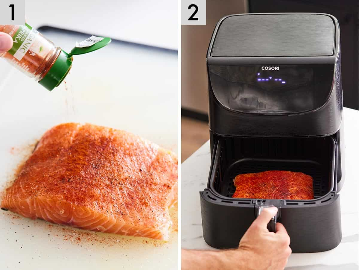 Set of two photos showing a salmon fillet being seasoned and placed into a cosori air fryer.