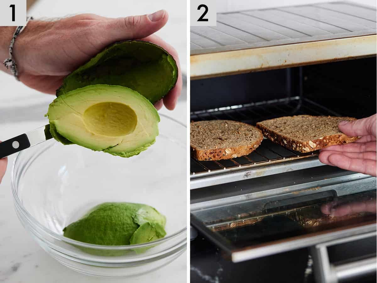 Set of two photos showing avocado being scooped out into a bowl and bread going into a toaster.