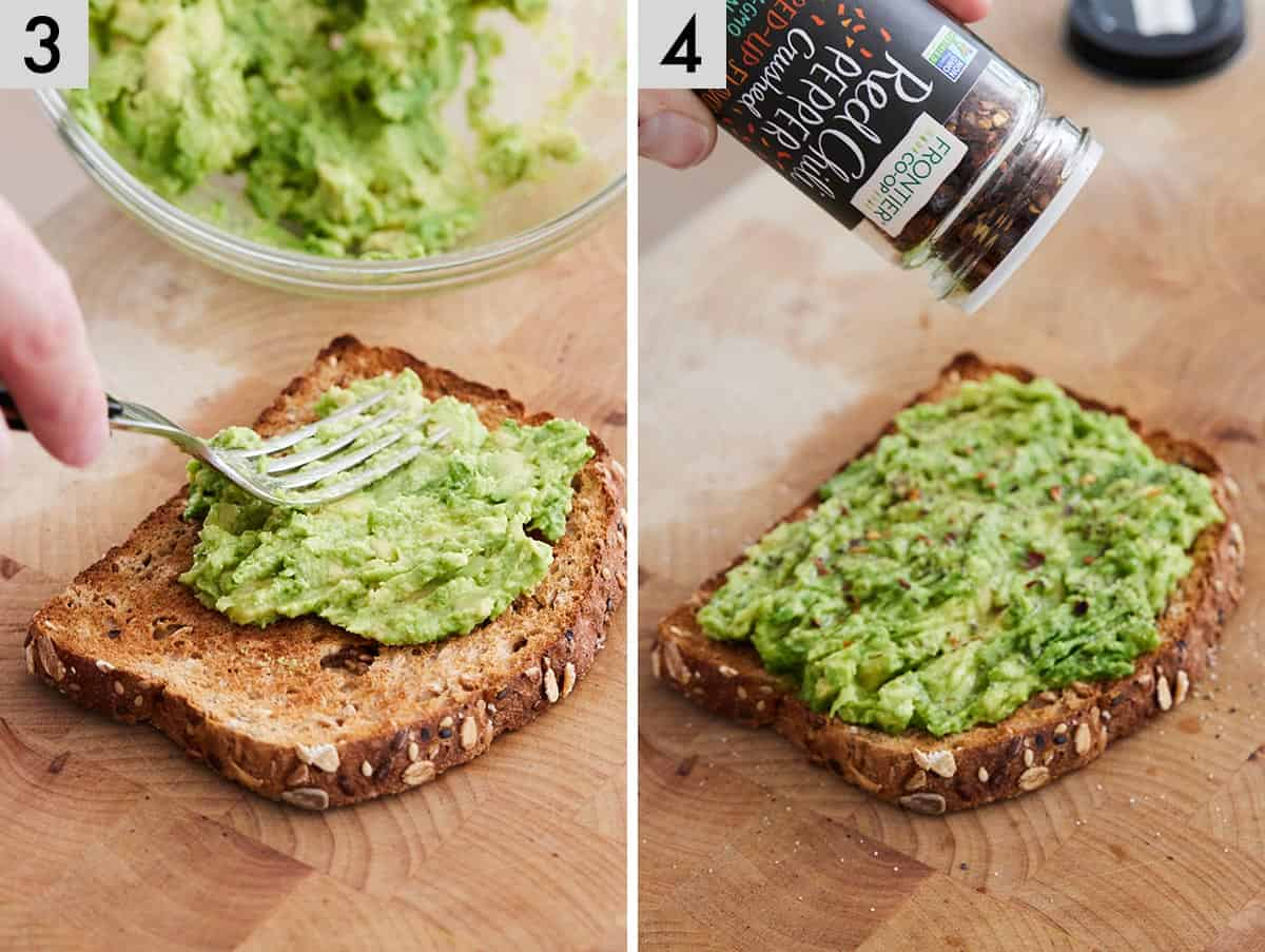 Set of two photos showing mashed avocado added to toast and topped with red chili pepper flakes.