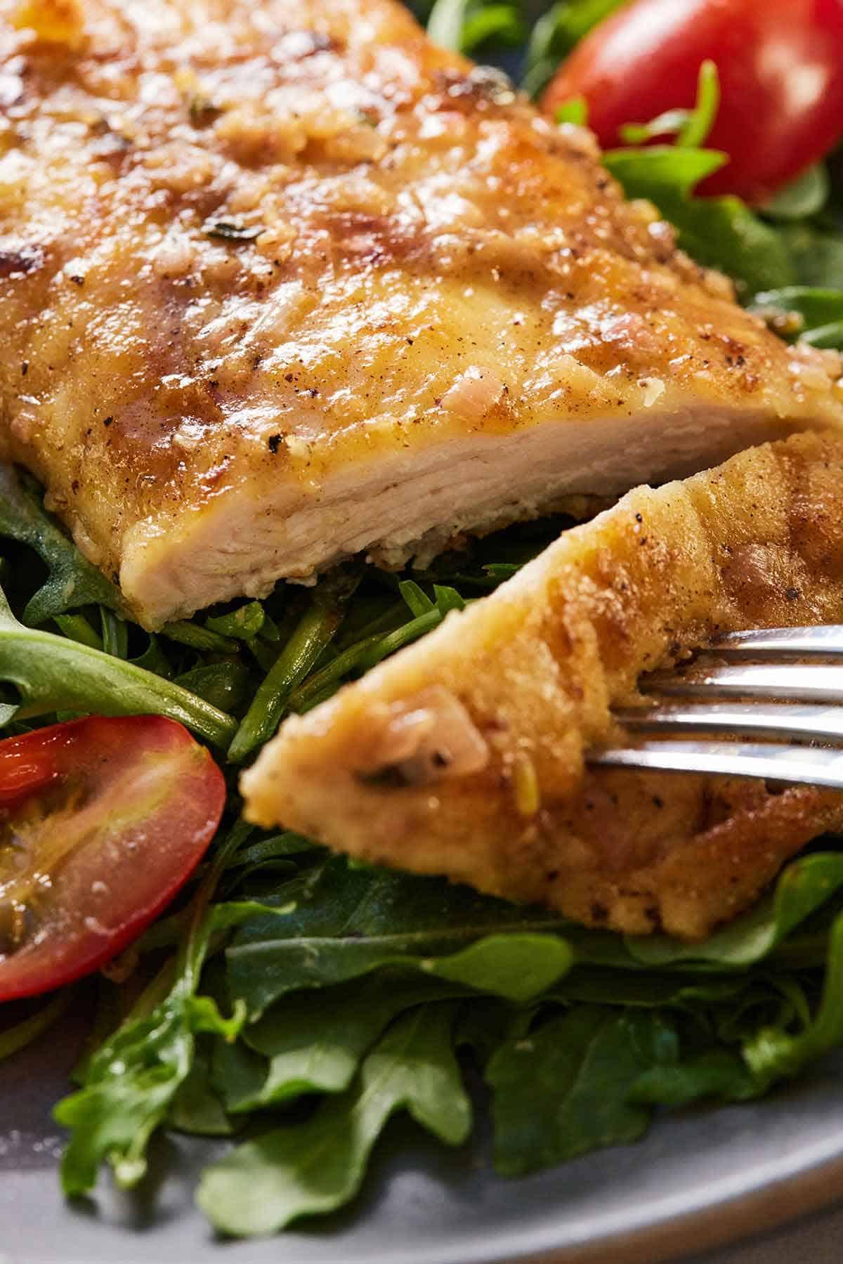 Chicken paillard sliced opened.
