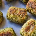 Pinterest graphic of the close up of a broccoli tater tot.