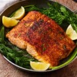 Close up of a serving of air fryer salmon.