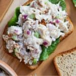 Pinterest graphic of a slice of bread with lettuce and chicken salad on top.