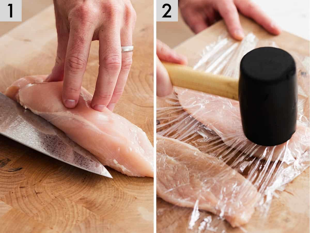 Set of 2 photos showing chicken breasts being sliced in half and then pounded flat with a mallet.