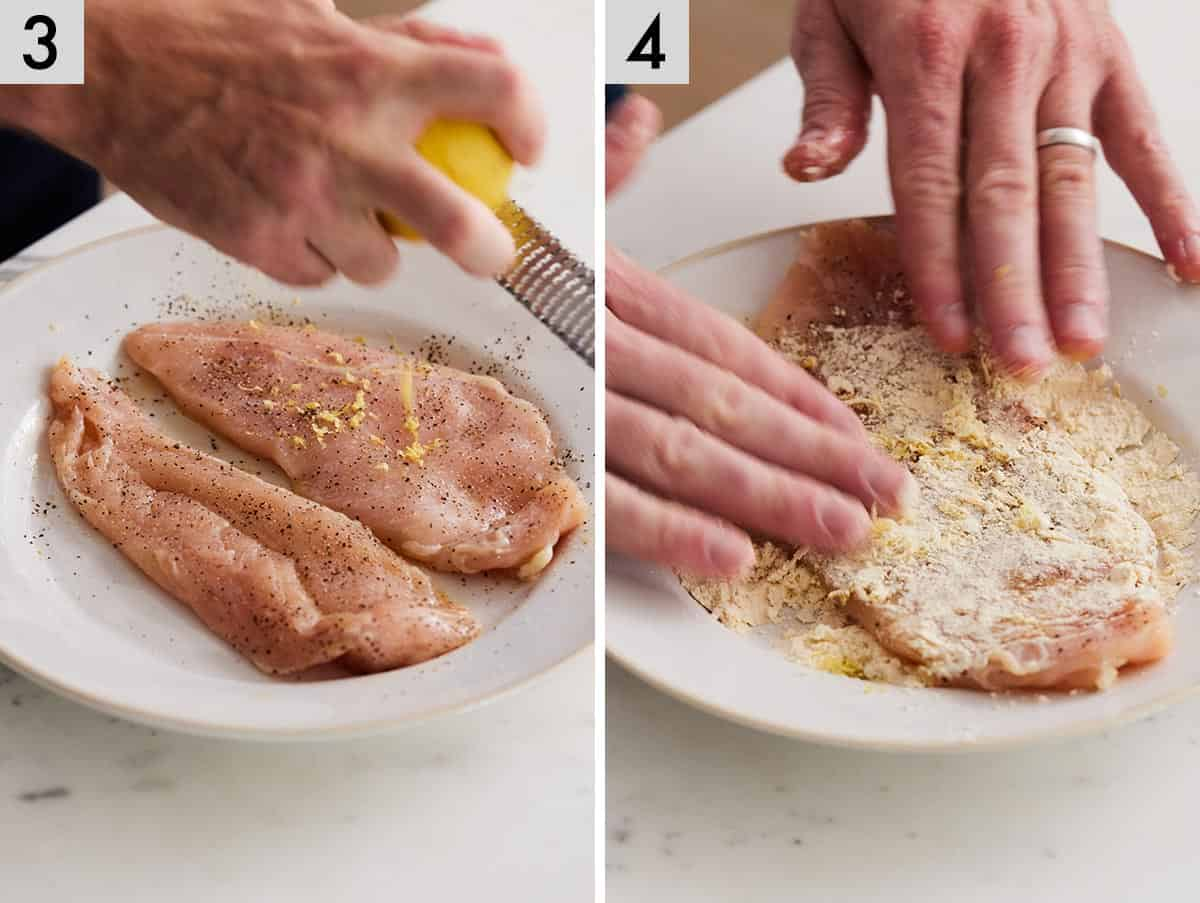 Set of 2 photos showing chicken being seasoned and then coated in flour.