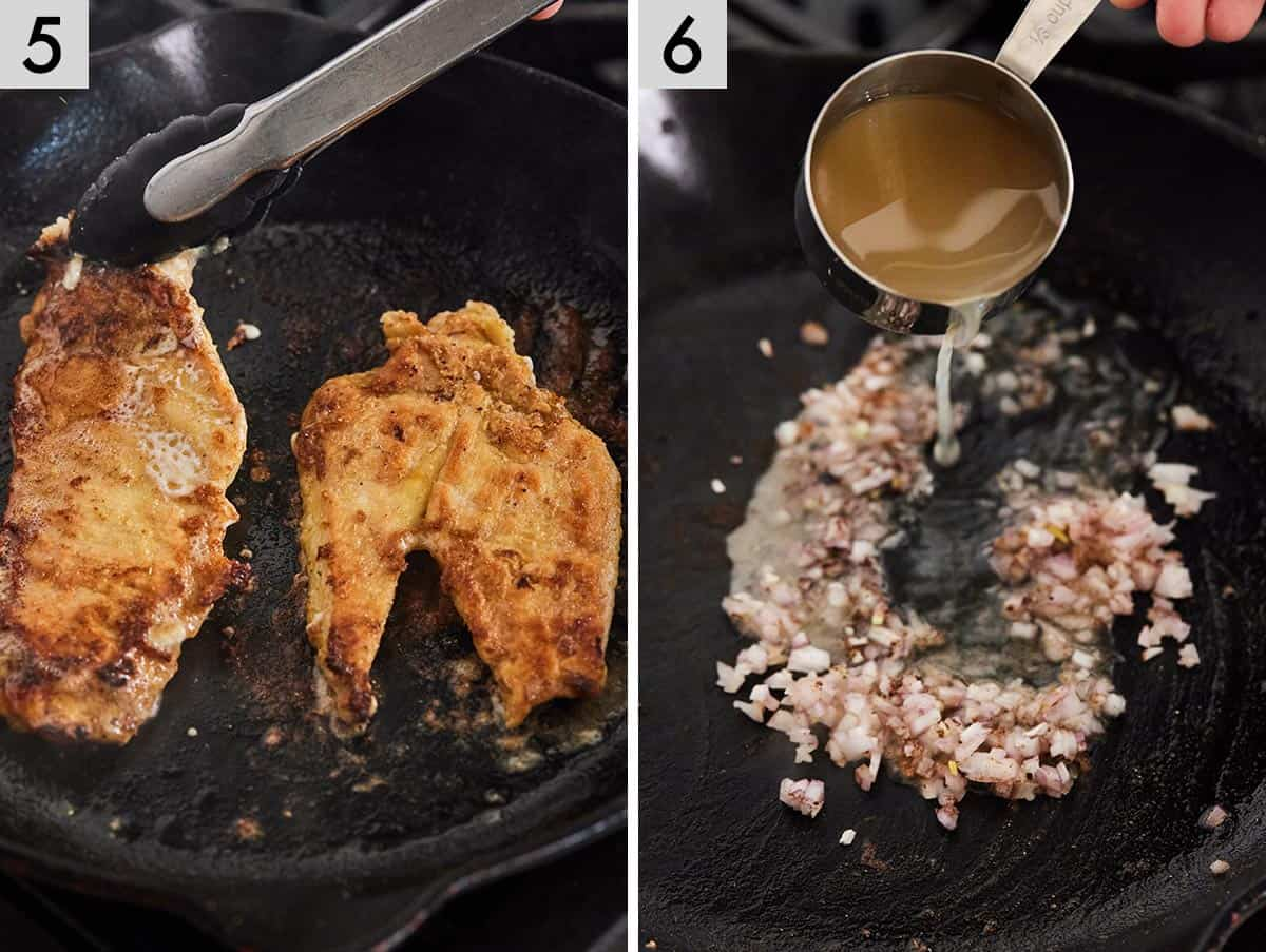 Set of 2 photos showing the breasts being pan fried and then sautéed shallots with broth added to it.