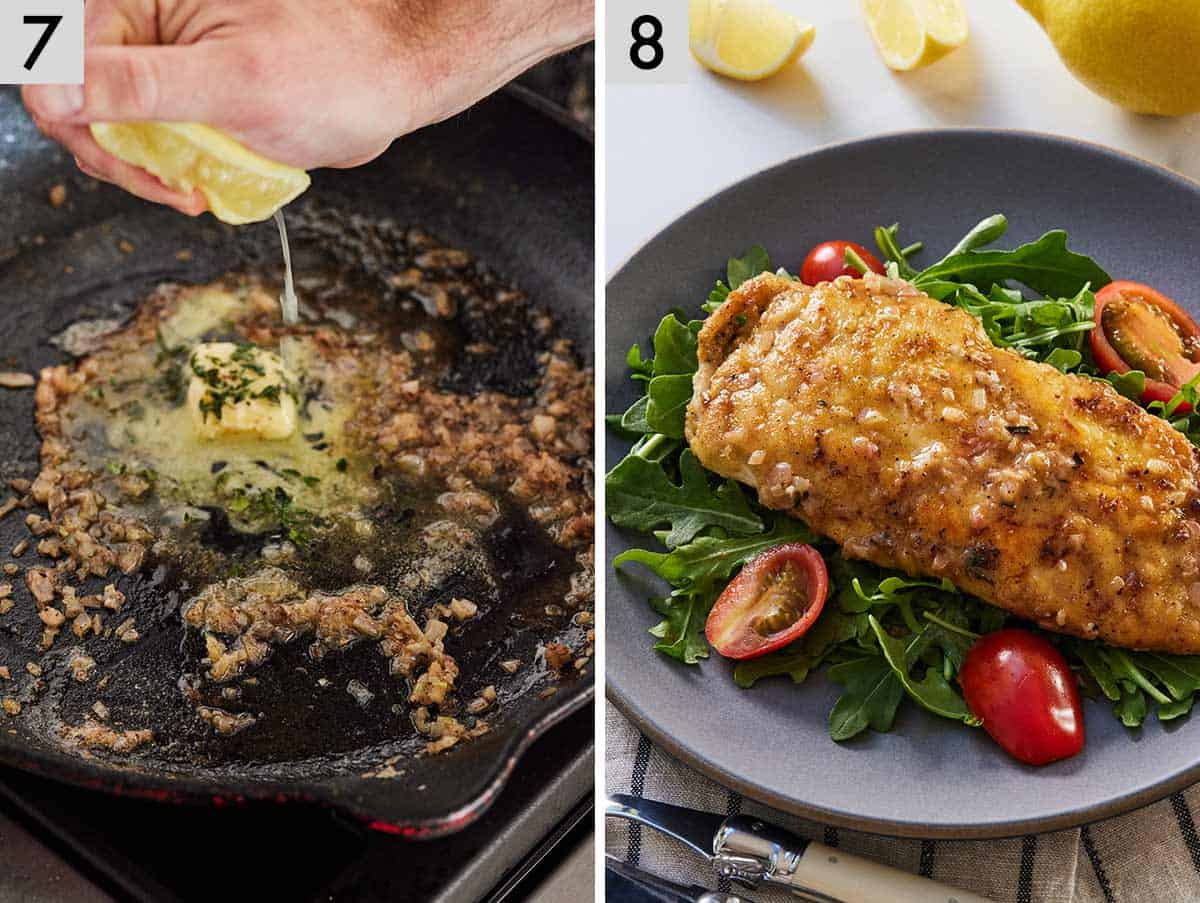 Set of 2 photos showing lemon and butter added to the pan sauce and the final dish, plated.
