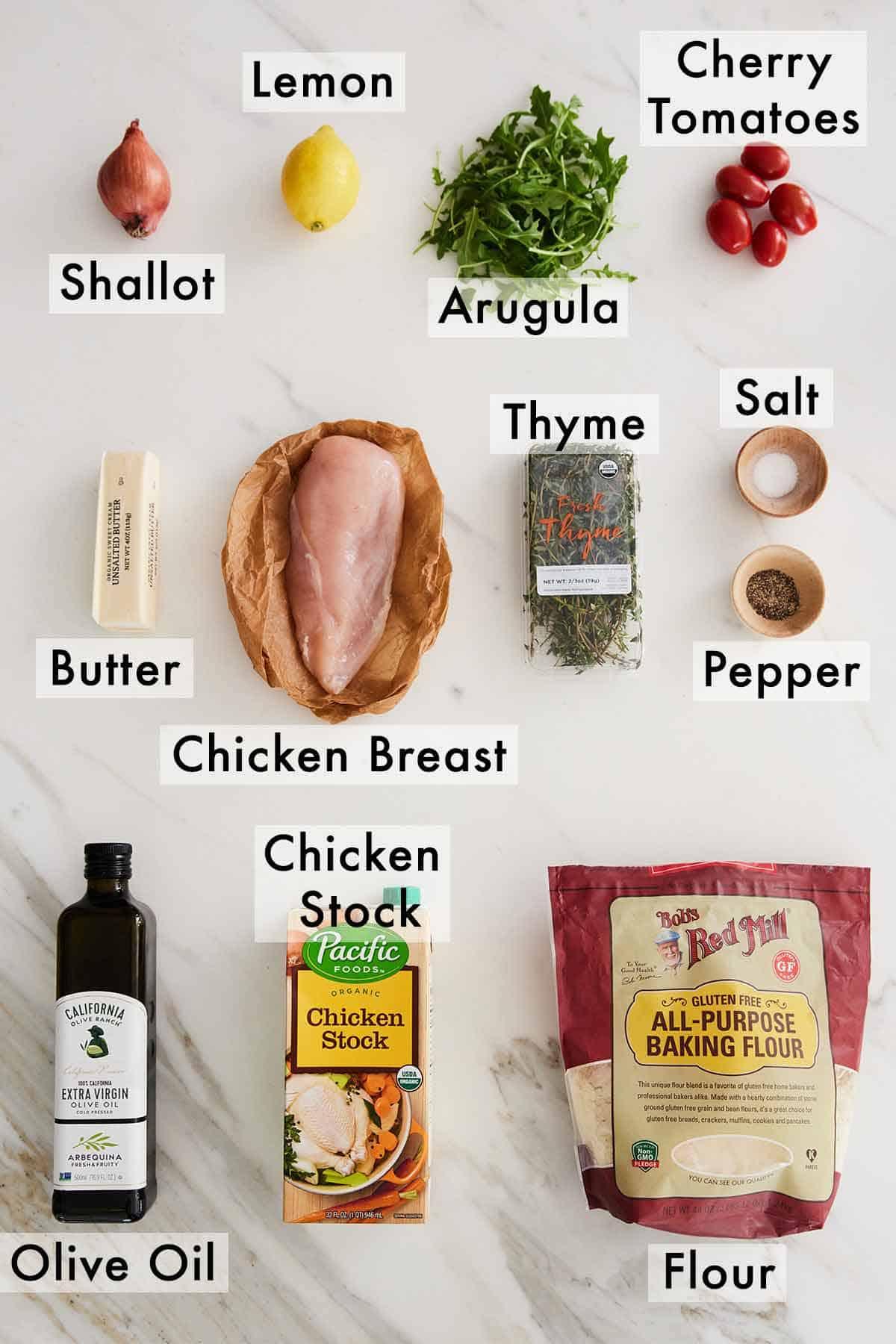 Ingredients needed to make chicken paillard.