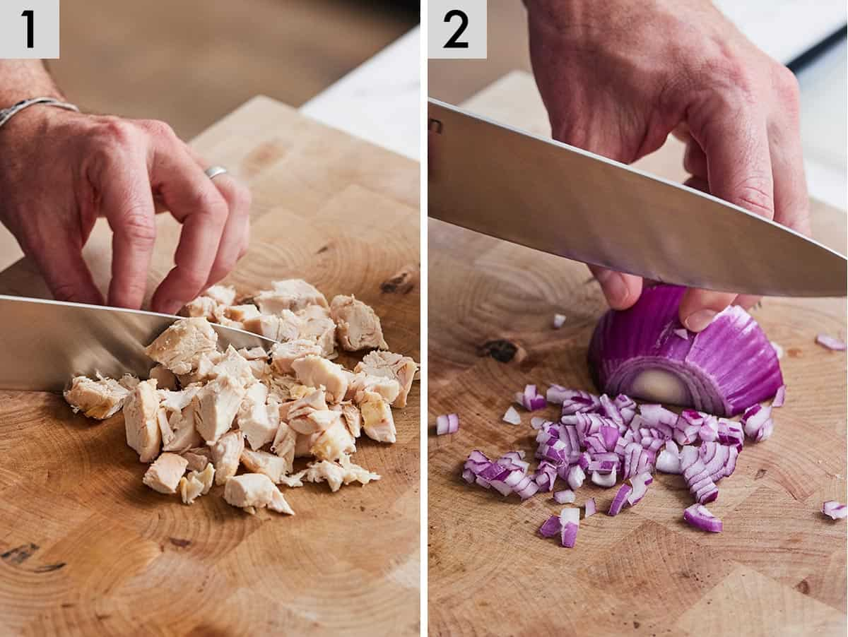 Set of two photos showing chicken being cut into cubes and red onion being diced.