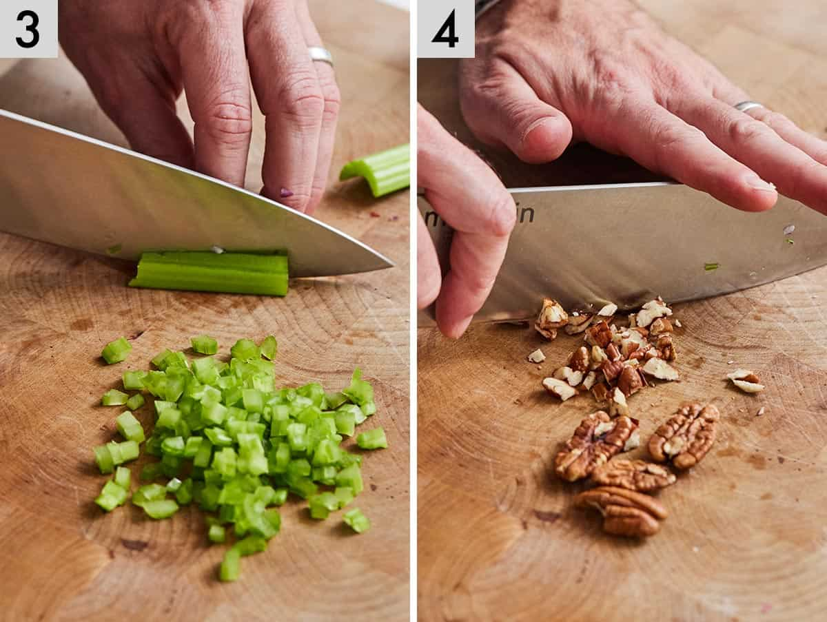 Set of two photos showing celery being chopped and pecans being chopped.