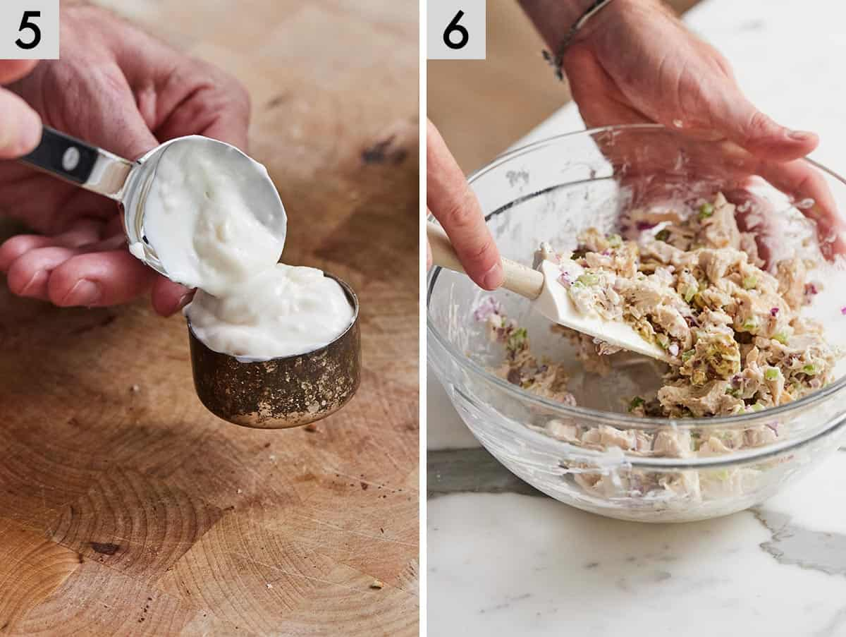 Set of two photos showing mayo and Greek yogurt being mixed and chicken salad ingredients being mixed in a bowl