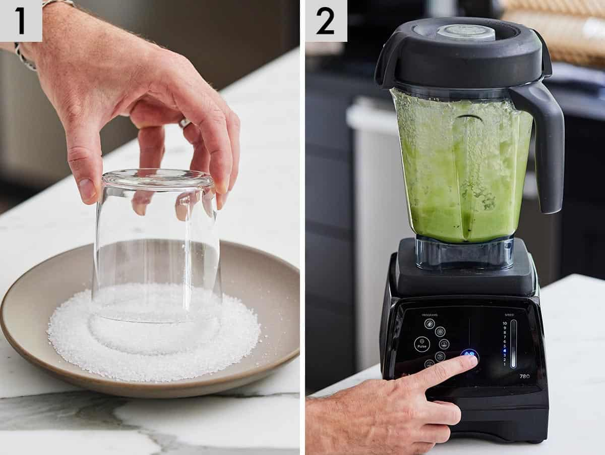 Set of two photos showing a glass getting salt added to its rim and cucumbers being blended up..