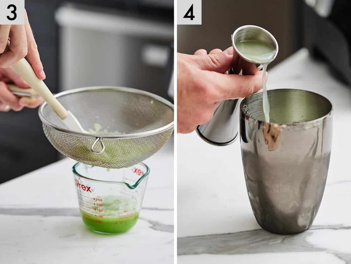 Set of two photos showing the cucumber juice being run through a sieve and added to cocktail shaker.